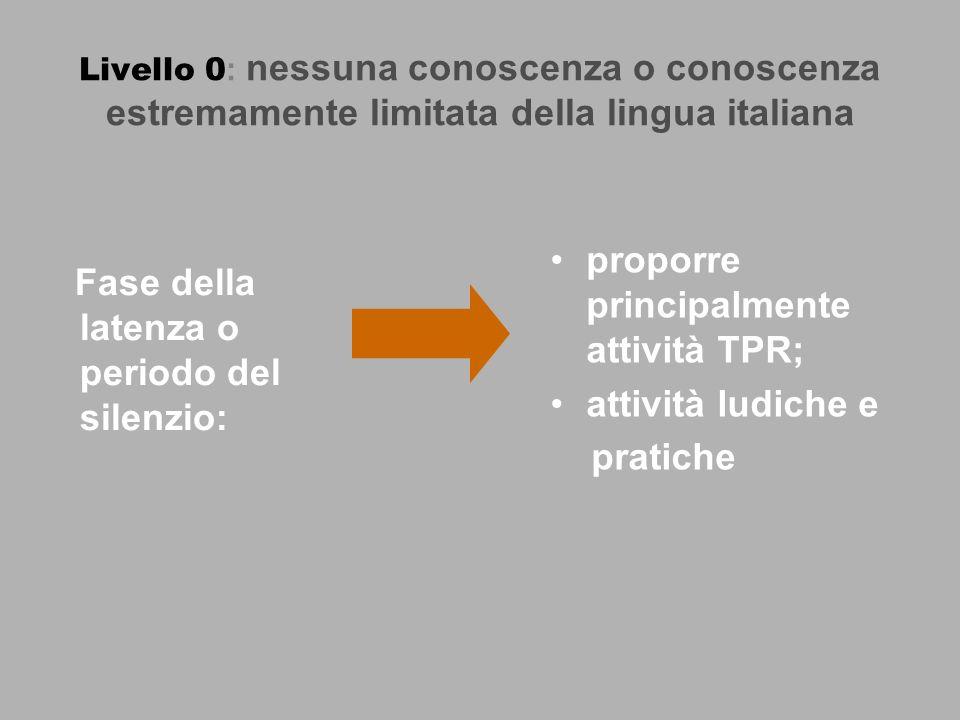 Livello 0 : nessuna conoscenza o conoscenza estremamente limitata della lingua italiana Fase della latenza o periodo del silenzio: proporre principalmente attività TPR; attività ludiche e pratiche