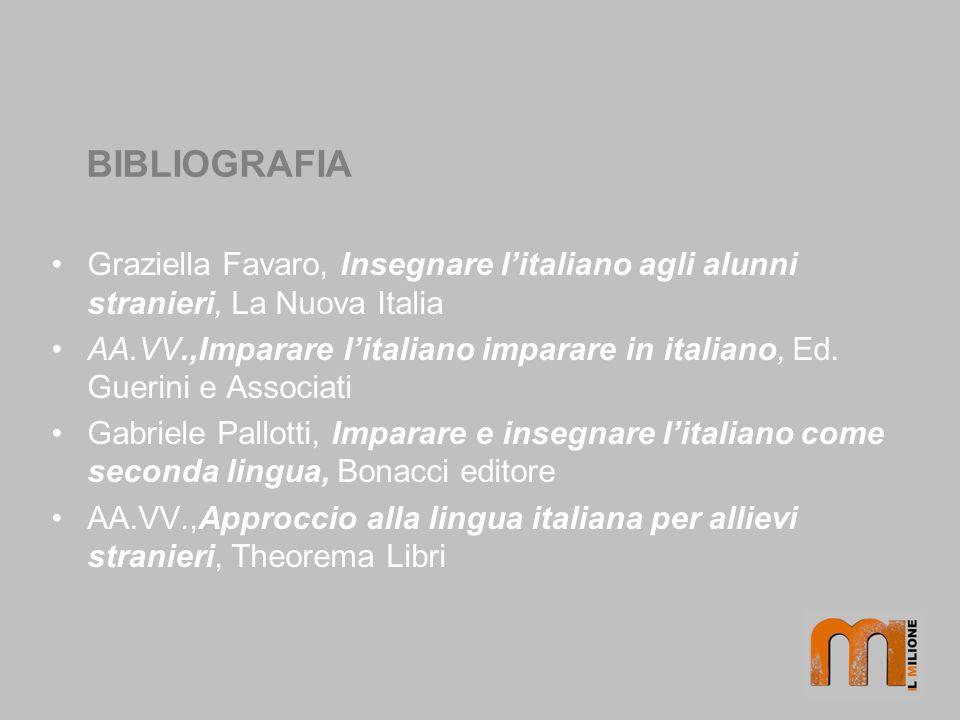 BIBLIOGRAFIA Graziella Favaro, Insegnare litaliano agli alunni stranieri, La Nuova Italia AA.VV.,Imparare litaliano imparare in italiano, Ed.