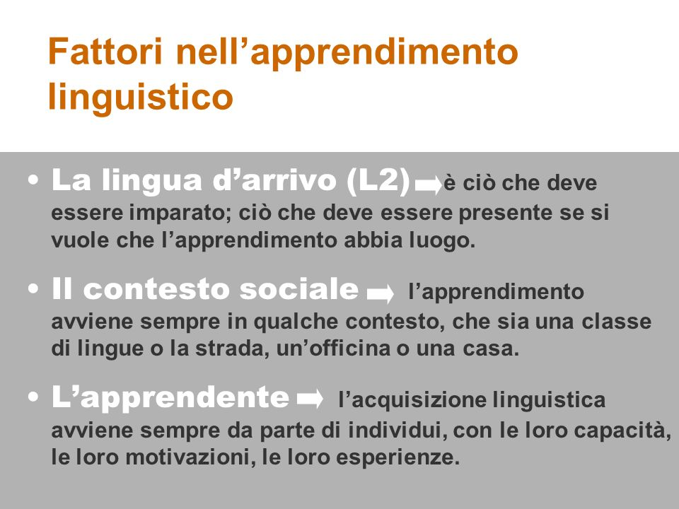 La lingua darrivo (L2) è ciò che deve essere imparato; ciò che deve essere presente se si vuole che lapprendimento abbia luogo.