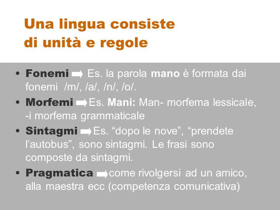 Una lingua consiste di unità e regole Fonemi Es.