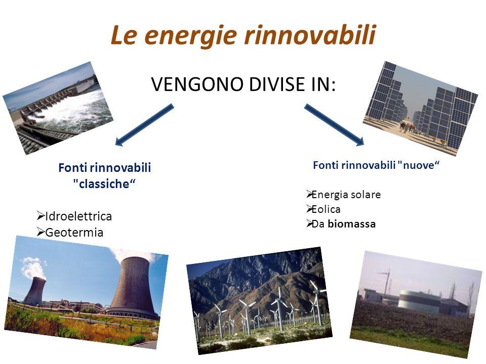 Le energie rinnovabili VENGONO DIVISE IN: Fonti rinnovabili