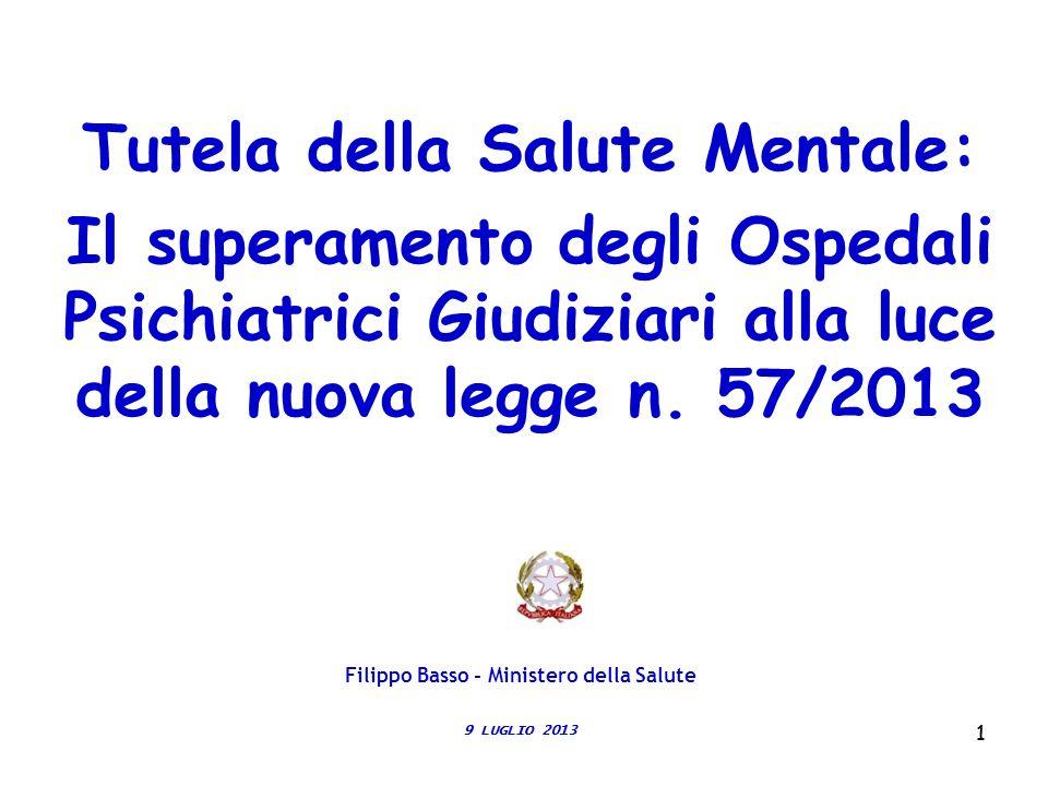 11 Tutela della Salute Mentale: Il superamento degli Ospedali Psichiatrici Giudiziari alla luce della nuova legge n. 57/2013 9 LUGLIO 2013 Filippo Bas
