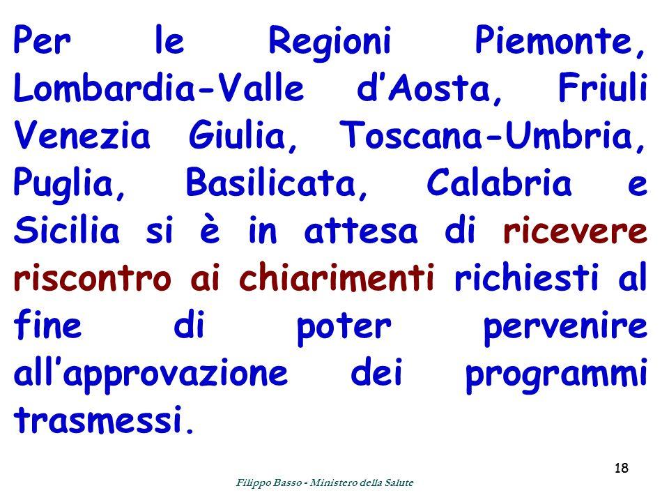 18 Per le Regioni Piemonte, Lombardia-Valle dAosta, Friuli Venezia Giulia, Toscana-Umbria, Puglia, Basilicata, Calabria e Sicilia si è in attesa di ricevere riscontro ai chiarimenti richiesti al fine di poter pervenire allapprovazione dei programmi trasmessi.