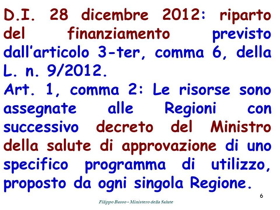 66 D.I. 28 dicembre 2012: riparto del finanziamento previsto dallarticolo 3-ter, comma 6, della L. n. 9/2012. Art. 1, comma 2: Le risorse sono assegna