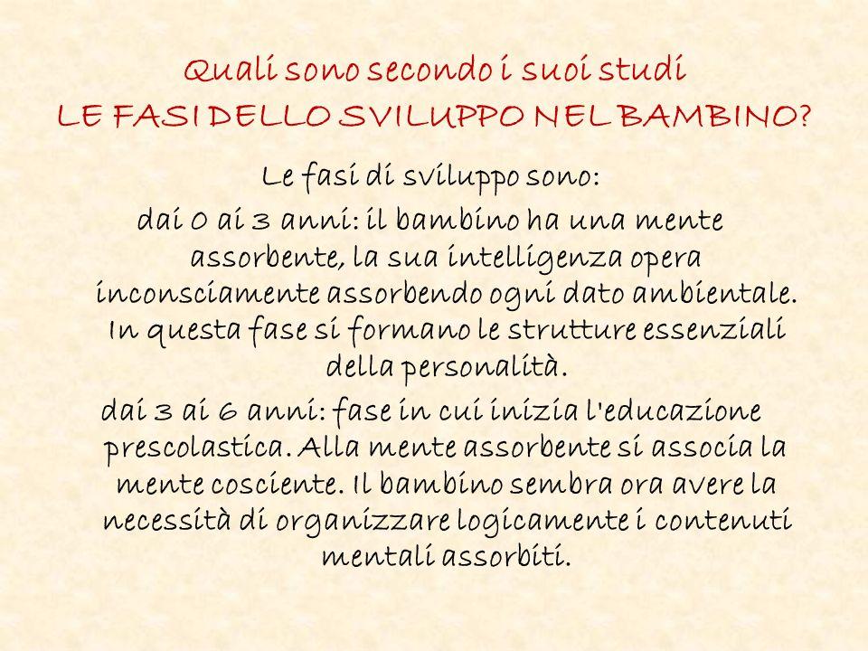 Quali sono secondo i suoi studi LE FASI DELLO SVILUPPO NEL BAMBINO.