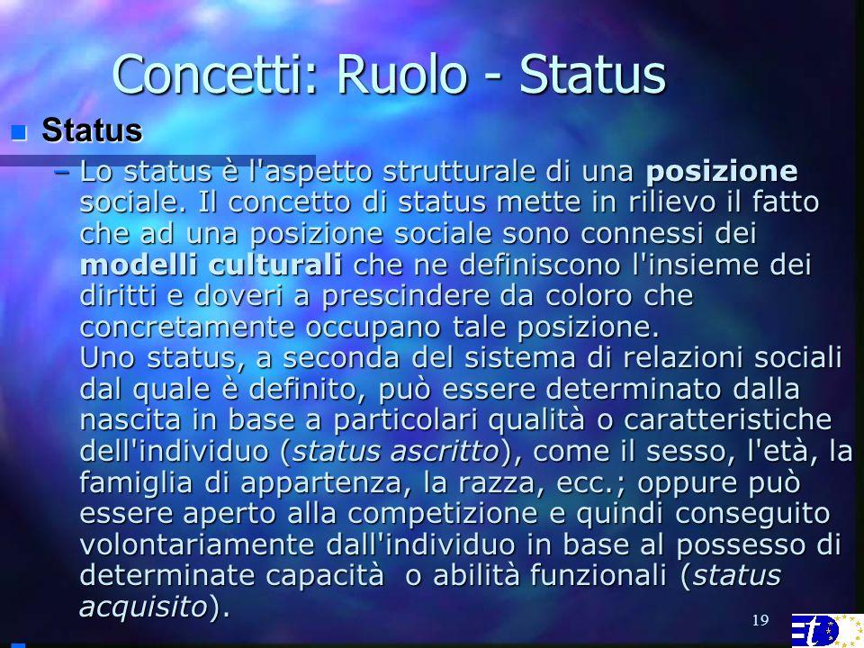 19 Concetti: Ruolo - Status Status Status –Lo status è l aspetto strutturale di una posizione sociale.