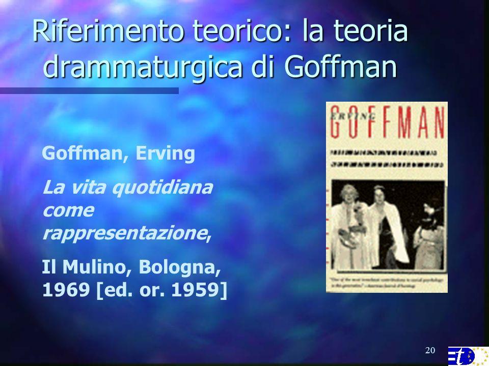 20 Riferimento teorico: la teoria drammaturgica di Goffman Goffman, Erving La vita quotidiana come rappresentazione, Il Mulino, Bologna, 1969 [ed.