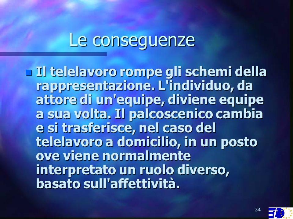 24 Le conseguenze n Il telelavoro rompe gli schemi della rappresentazione.