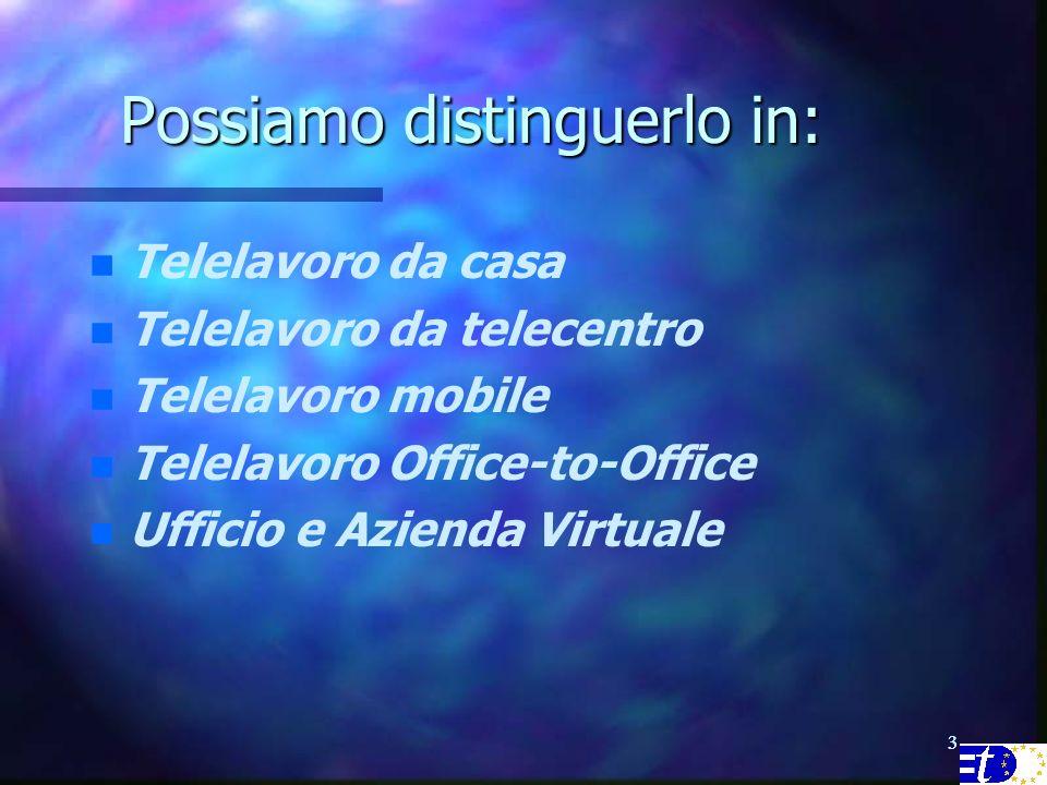 33 Possiamo distinguerlo in: n n Telelavoro da casa n n Telelavoro da telecentro n n Telelavoro mobile n n Telelavoro Office-to-Office n n Ufficio e Azienda Virtuale