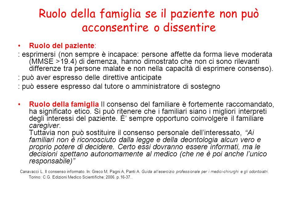 Ruolo della famiglia se il paziente non può acconsentire o dissentire Ruolo del paziente: : esprimersi (non sempre è incapace: persone affette da form