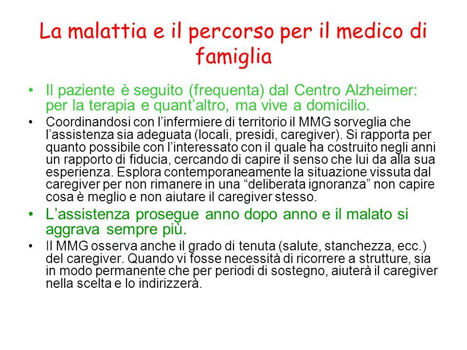 La malattia e il percorso per il medico di famiglia Il paziente è seguito (frequenta) dal Centro Alzheimer: per la terapia e quantaltro, ma vive a dom