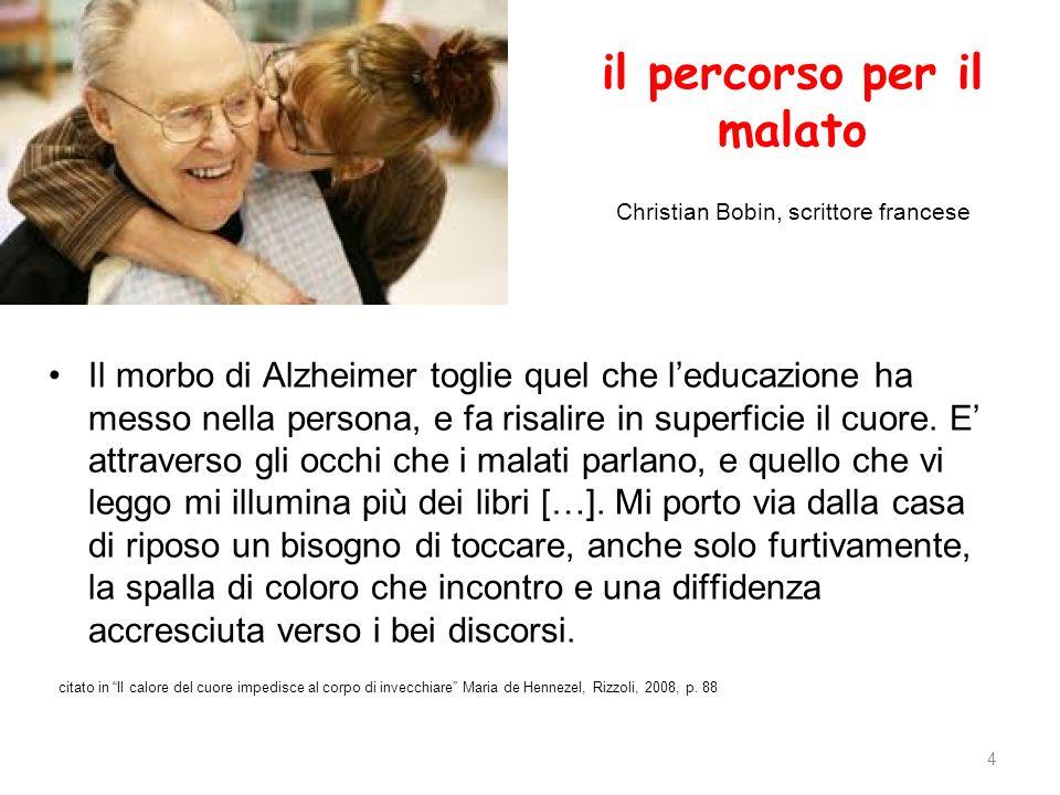 il percorso per il malato Christian Bobin, scrittore francese Il morbo di Alzheimer toglie quel che leducazione ha messo nella persona, e fa risalire