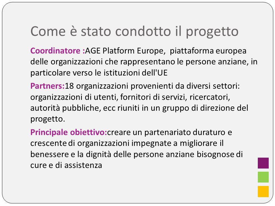 Come è stato condotto il progetto Coordinatore :AGE Platform Europe, piattaforma europea delle organizzazioni che rappresentano le persone anziane, in