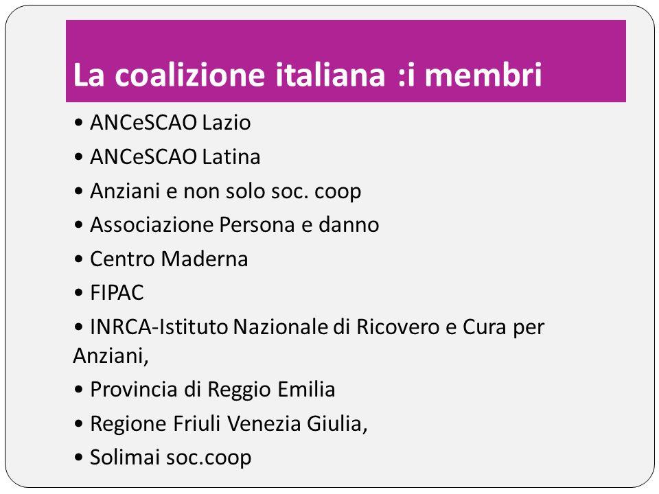 La coalizione italiana :i referenti Referenti per il Gruppo di Coordinamento del progetto europeo: Loredana Ligabue e Licia Boccaletti (Anziani e non solo soc.coop) Referente per la coalizione italiana Elio DOrazio (FIPAC) Il sito della coalizione italiana http://wedo.anzianienonsolo.it/ http://wedo.anzianienonsolo.it/