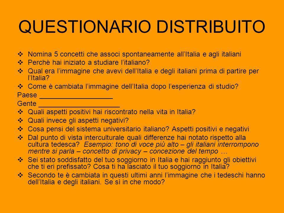 QUESTIONARIO DISTRIBUITO Nomina 5 concetti che associ spontaneamente allItalia e agli italiani Perchè hai iniziato a studiare litaliano.