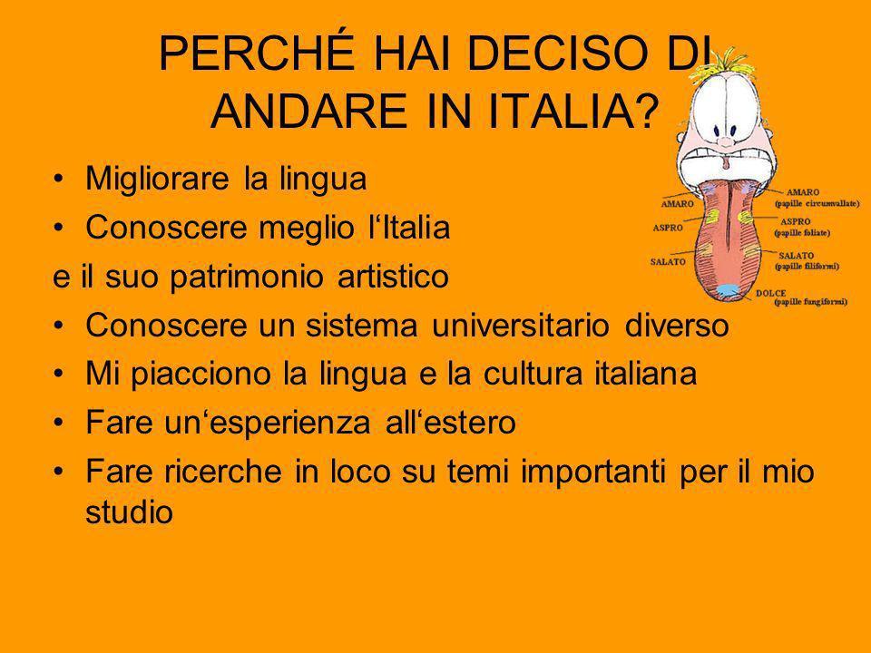 PERCHÉ HAI DECISO DI ANDARE IN ITALIA.