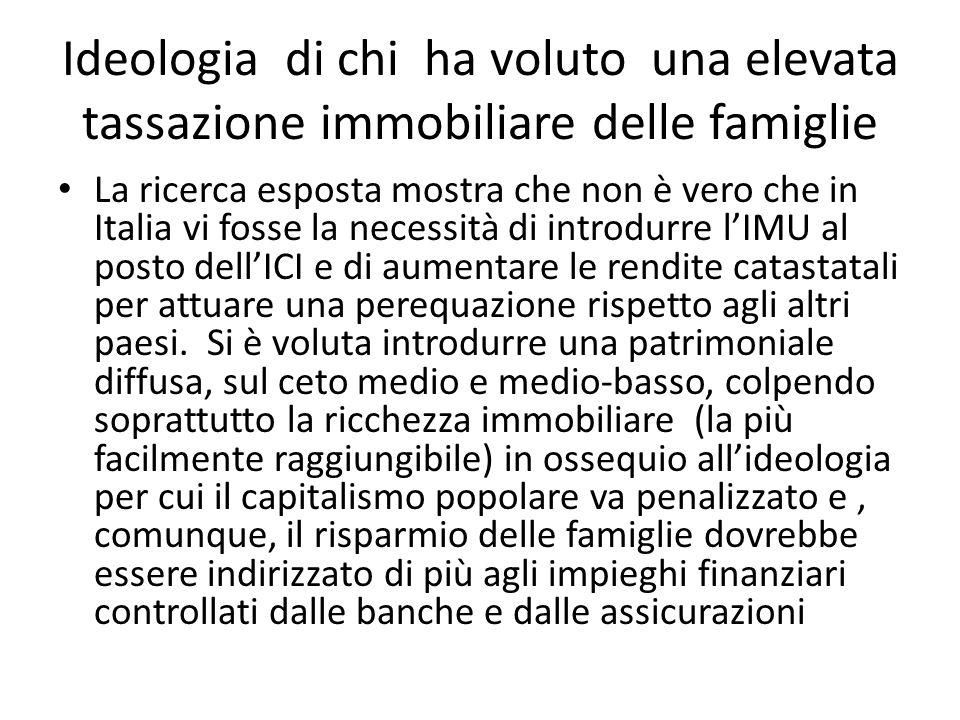 Ideologia di chi ha voluto una elevata tassazione immobiliare delle famiglie La ricerca esposta mostra che non è vero che in Italia vi fosse la necess