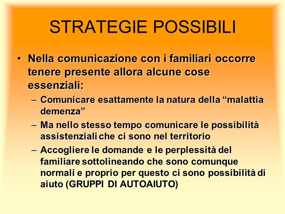 STRATEGIE POSSIBILI Nella comunicazione con i familiari occorre tenere presente allora alcune cose essenziali:Nella comunicazione con i familiari occo