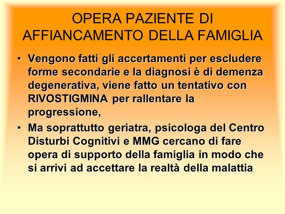 OPERA PAZIENTE DI AFFIANCAMENTO DELLA FAMIGLIA Vengono fatti gli accertamenti per escludere forme secondarie e la diagnosi è di demenza degenerativa,