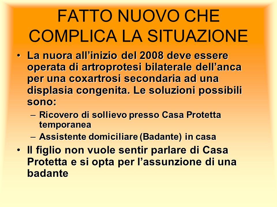 FATTO NUOVO CHE COMPLICA LA SITUAZIONE La nuora allinizio del 2008 deve essere operata di artroprotesi bilaterale dellanca per una coxartrosi secondar