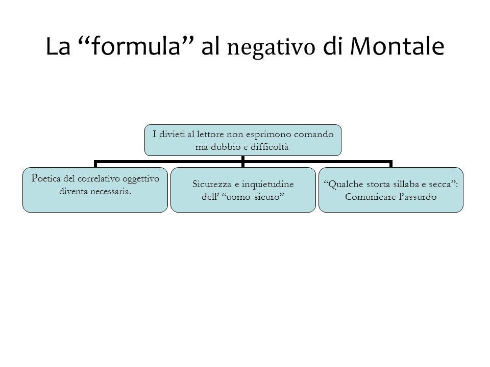 La formula al negativo di Montale I divieti al lettore non esprimono comando ma dubbio e difficoltà Poetica del correlativo oggettivo diventa necessaria.