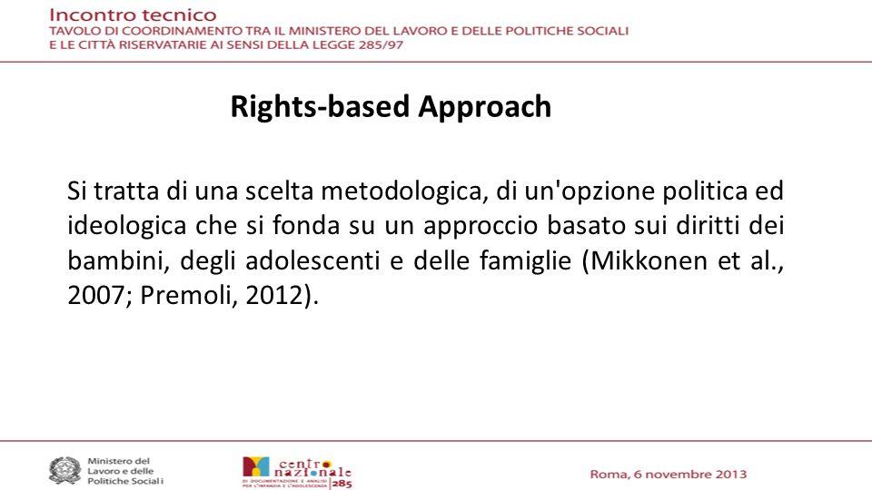 Rights-based Approach Si tratta di una scelta metodologica, di un opzione politica ed ideologica che si fonda su un approccio basato sui diritti dei bambini, degli adolescenti e delle famiglie (Mikkonen et al., 2007; Premoli, 2012).
