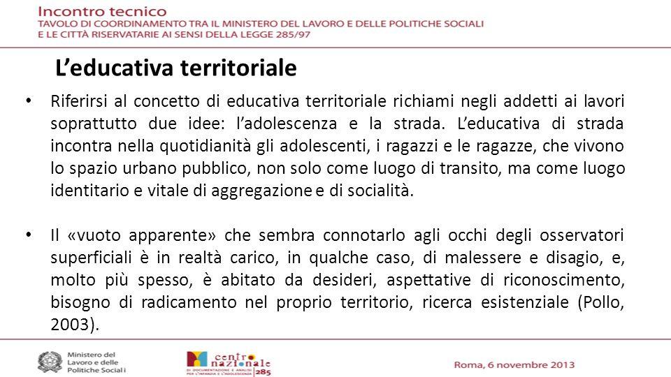 Riferirsi al concetto di educativa territoriale richiami negli addetti ai lavori soprattutto due idee: ladolescenza e la strada.