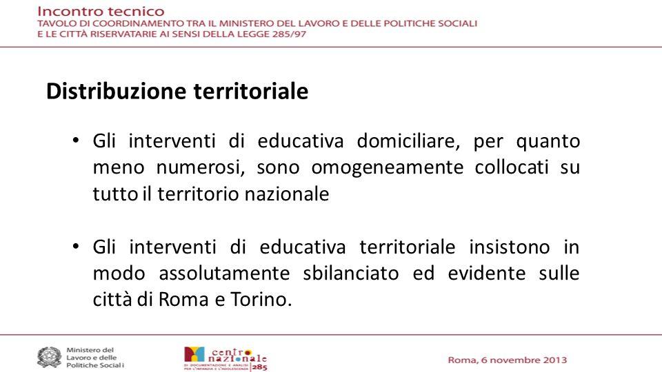 Gli interventi di educativa domiciliare, per quanto meno numerosi, sono omogeneamente collocati su tutto il territorio nazionale Gli interventi di educativa territoriale insistono in modo assolutamente sbilanciato ed evidente sulle città di Roma e Torino.