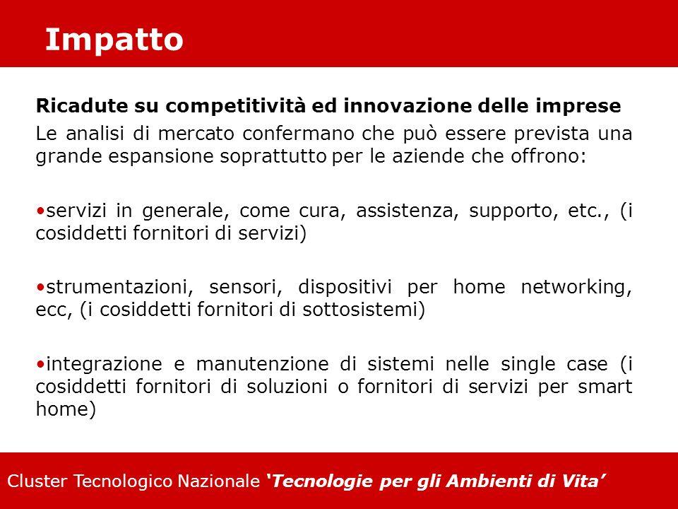 Cluster Tecnologico Nazionale Tecnologie per gli Ambienti di Vita Impatto Ricadute su competitività ed innovazione delle imprese Le analisi di mercato