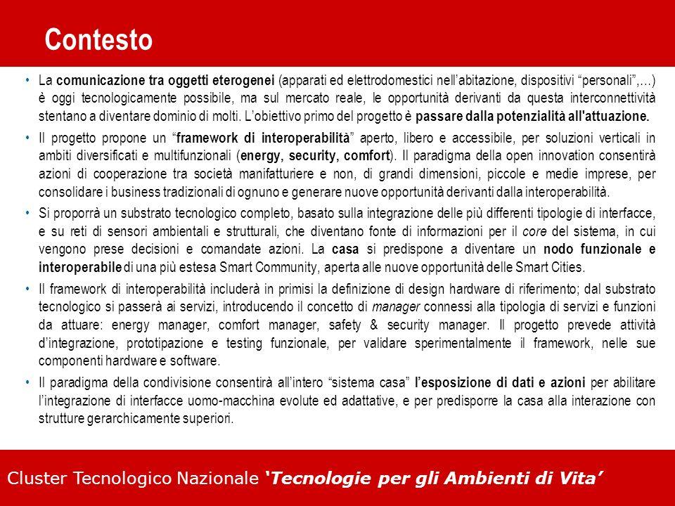 Cluster Tecnologico Nazionale Tecnologie per gli Ambienti di Vita Contesto La comunicazione tra oggetti eterogenei (apparati ed elettrodomestici nella