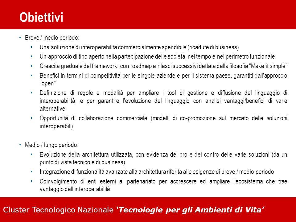 Cluster Tecnologico Nazionale Tecnologie per gli Ambienti di Vita Obiettivi Breve / medio periodo: Una soluzione di interoperabilità commercialmente s