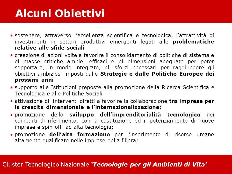 Cluster Tecnologico Nazionale Tecnologie per gli Ambienti di Vita Alcuni Obiettivi sostenere, attraverso leccellenza scientifica e tecnologica, lattra