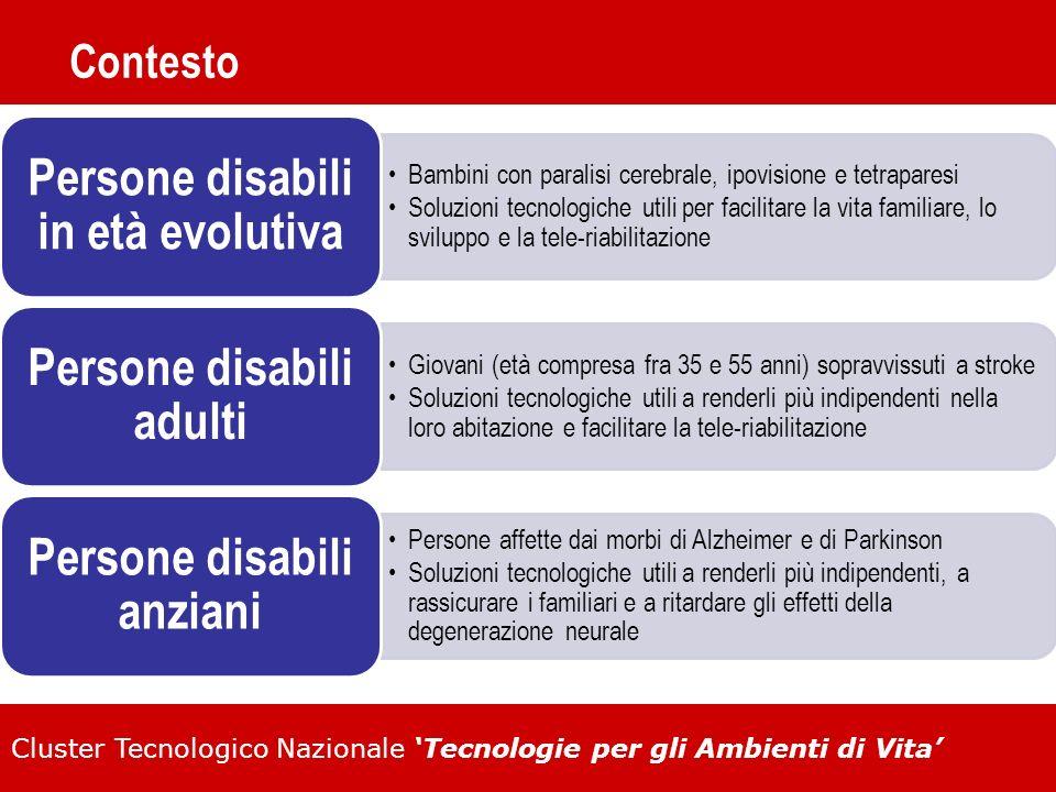 Cluster Tecnologico Nazionale Tecnologie per gli Ambienti di Vita Contesto Bambini con paralisi cerebrale, ipovisione e tetraparesi Soluzioni tecnolog