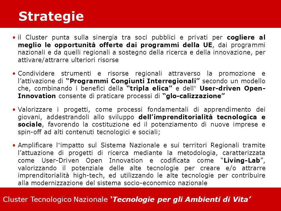 Cluster Tecnologico Nazionale Tecnologie per gli Ambienti di Vita Strategie il Cluster punta sulla sinergia tra soci pubblici e privati per cogliere a