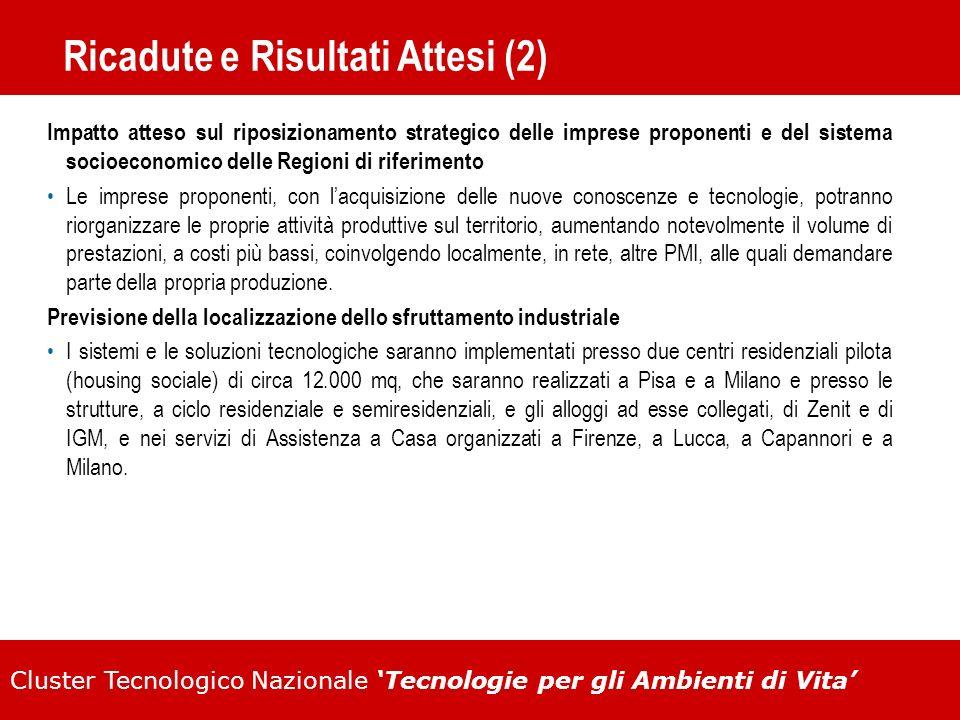 Cluster Tecnologico Nazionale Tecnologie per gli Ambienti di Vita Ricadute e Risultati Attesi (2) Impatto atteso sul riposizionamento strategico delle