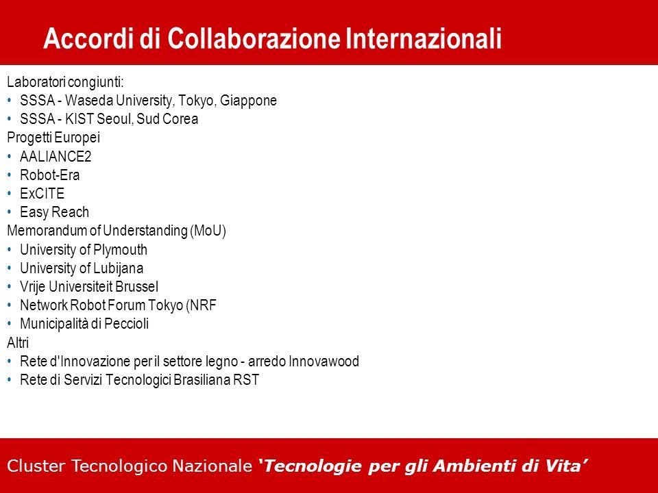 Cluster Tecnologico Nazionale Tecnologie per gli Ambienti di Vita Accordi di Collaborazione Internazionali Laboratori congiunti: SSSA - Waseda Univers