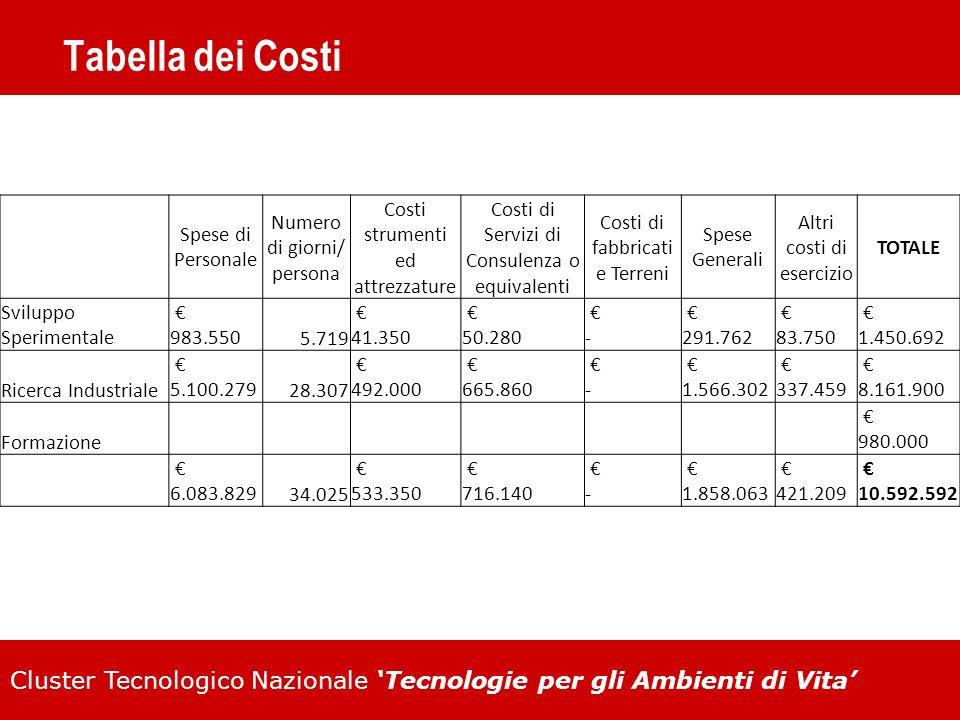 Cluster Tecnologico Nazionale Tecnologie per gli Ambienti di Vita Tabella dei Costi Spese di Personale Numero di giorni/ persona Costi strumenti ed at