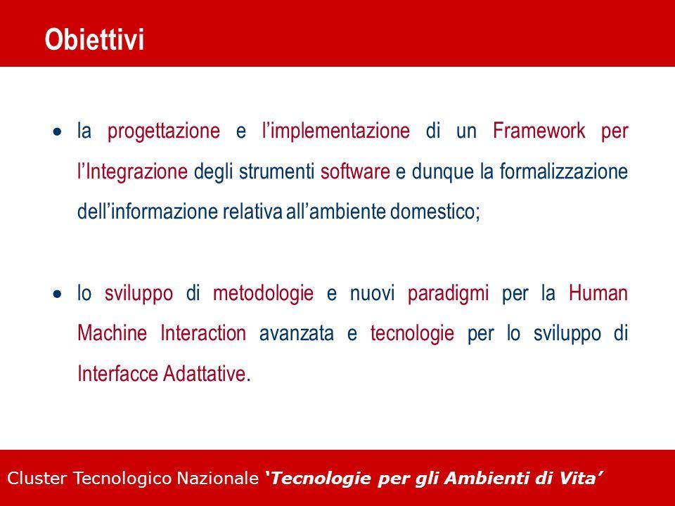 Cluster Tecnologico Nazionale Tecnologie per gli Ambienti di Vita Obiettivi la progettazione e limplementazione di un Framework per lIntegrazione degl
