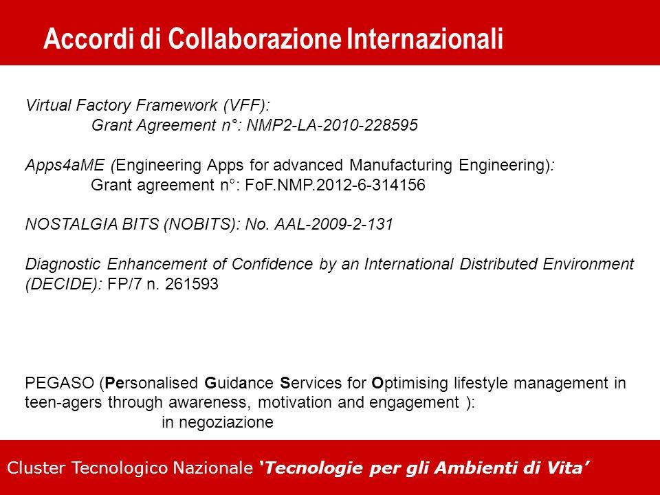 Cluster Tecnologico Nazionale Tecnologie per gli Ambienti di Vita Accordi di Collaborazione Internazionali Virtual Factory Framework (VFF): Grant Agre