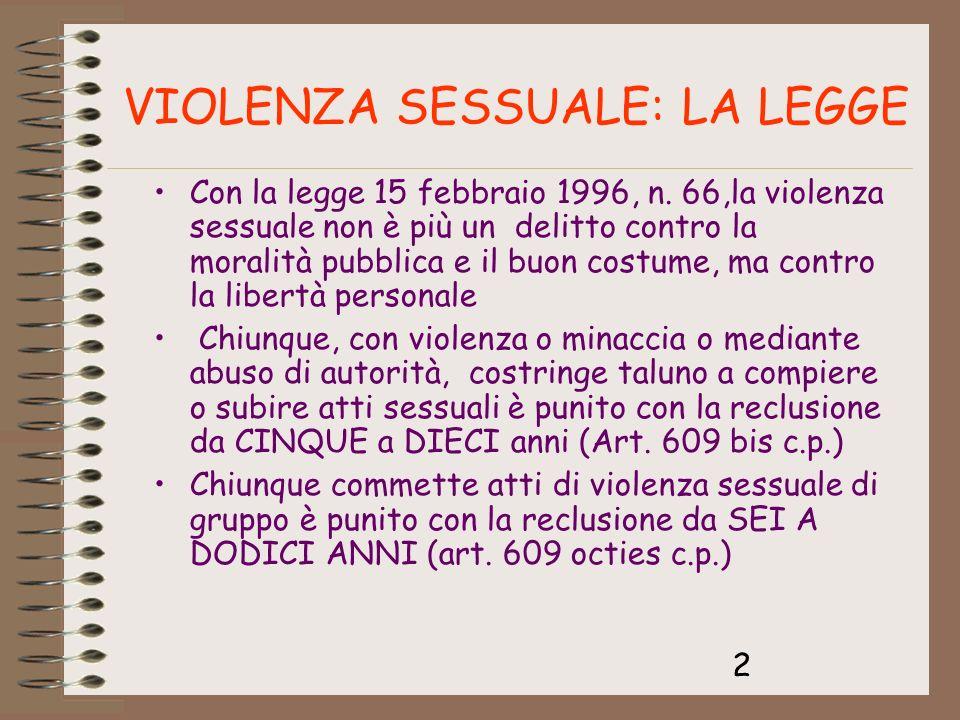 2 Con la legge 15 febbraio 1996, n. 66,la violenza sessuale non è più un delitto contro la moralità pubblica e il buon costume, ma contro la libertà p