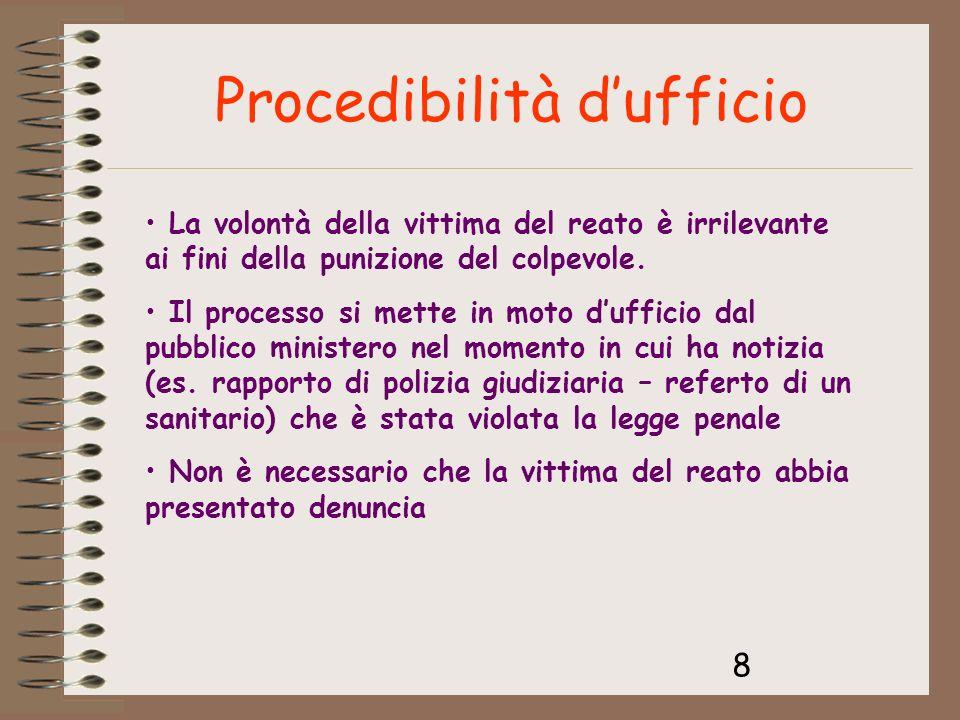 8 Procedibilità dufficio La volontà della vittima del reato è irrilevante ai fini della punizione del colpevole. Il processo si mette in moto dufficio