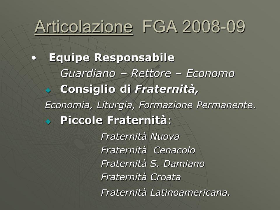 Articolazione FGA 2008-09 Equipe ResponsabileEquipe Responsabile Guardiano – Rettore – Economo Consiglio di Fraternità, Consiglio di Fraternità, Economia, Liturgia, Formazione Permanente.