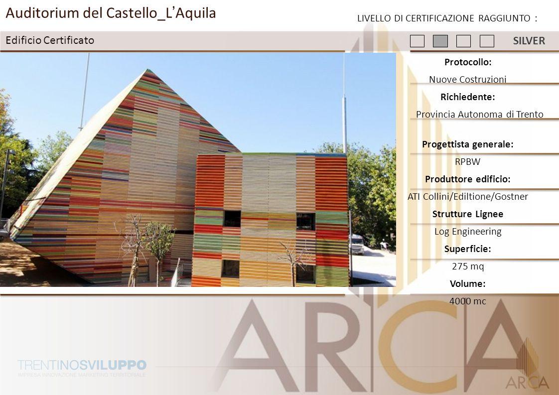 Auditorium del Castello_LAquila Edificio Certificato LIVELLO DI CERTIFICAZIONE RAGGIUNTO : Protocollo: Nuove Costruzioni Richiedente: Provincia Autono