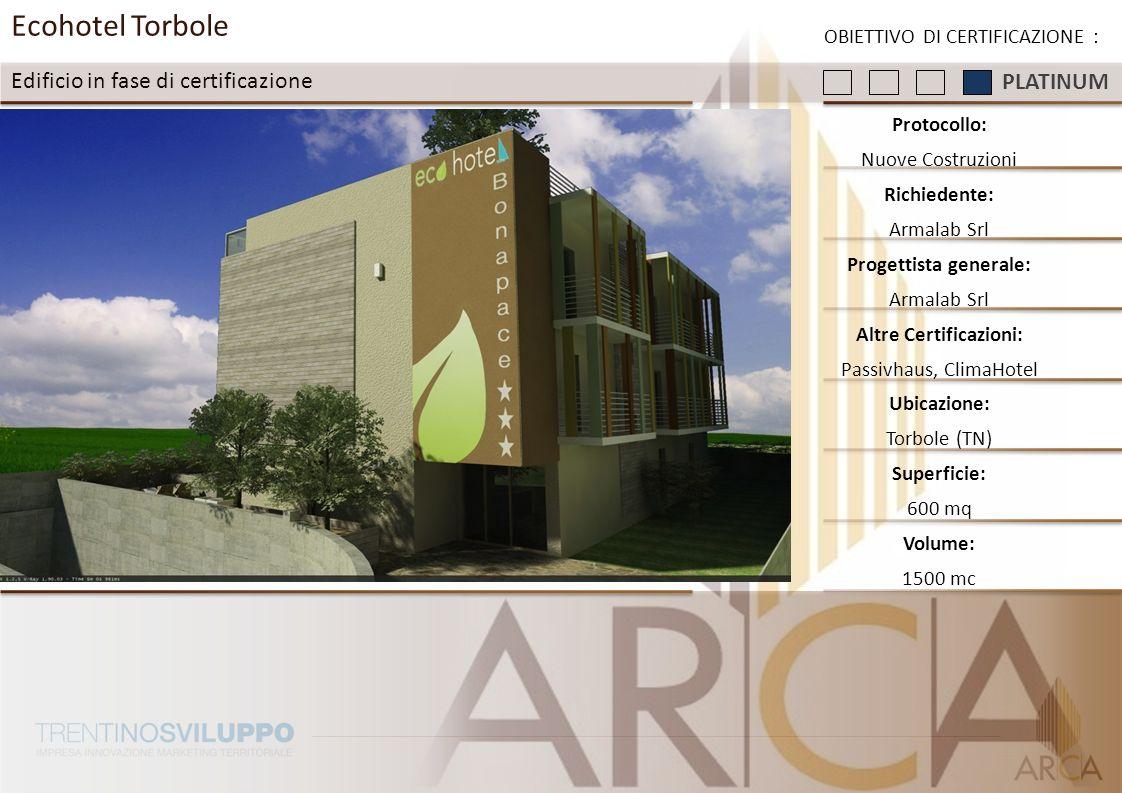 Ecohotel Torbole Edificio in fase di certificazione OBIETTIVO DI CERTIFICAZIONE : Protocollo: Nuove Costruzioni Richiedente: Armalab Srl Progettista g