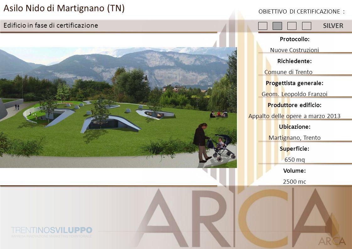 Asilo Nido di Martignano (TN) Edificio in fase di certificazione Protocollo: Nuove Costruzioni Richiedente: Comune di Trento Progettista generale: Geo