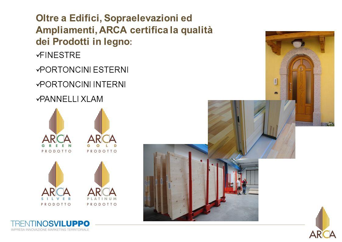 Oltre a Edifici, Sopraelevazioni ed Ampliamenti, ARCA certifica la qualità dei Prodotti in legno : FINESTRE PORTONCINI ESTERNI PORTONCINI INTERNI PANN