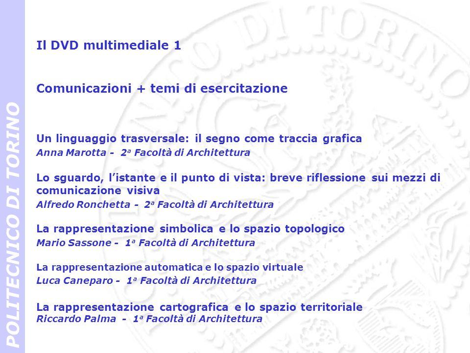Il DVD multimediale 1 POLITECNICO DI TORINO Un linguaggio trasversale: il segno come traccia grafica Anna Marotta - 2 a Facoltà di Architettura Lo sgu