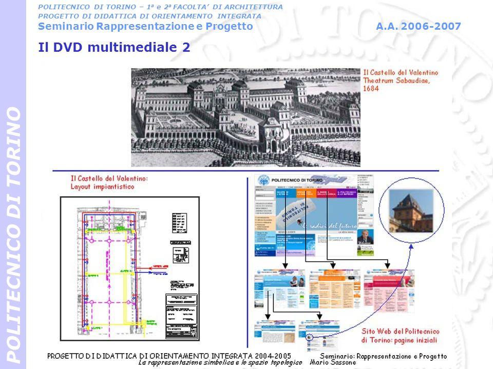 Il DVD multimediale 3 POLITECNICO DI TORINO POLITECNICO DI TORINO – 1 a e 2 a FACOLTA DI ARCHITETTURA PROGETTO DI DIDATTICA DI ORIENTAMENTO INTEGRATA Seminario Rappresentazione e Progetto A.A.