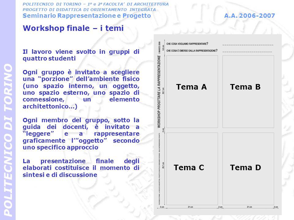 Workshop finale – i temi POLITECNICO DI TORINO Tema ATema B Tema CTema D Il lavoro viene svolto in gruppi di quattro studenti Ogni gruppo è invitato a