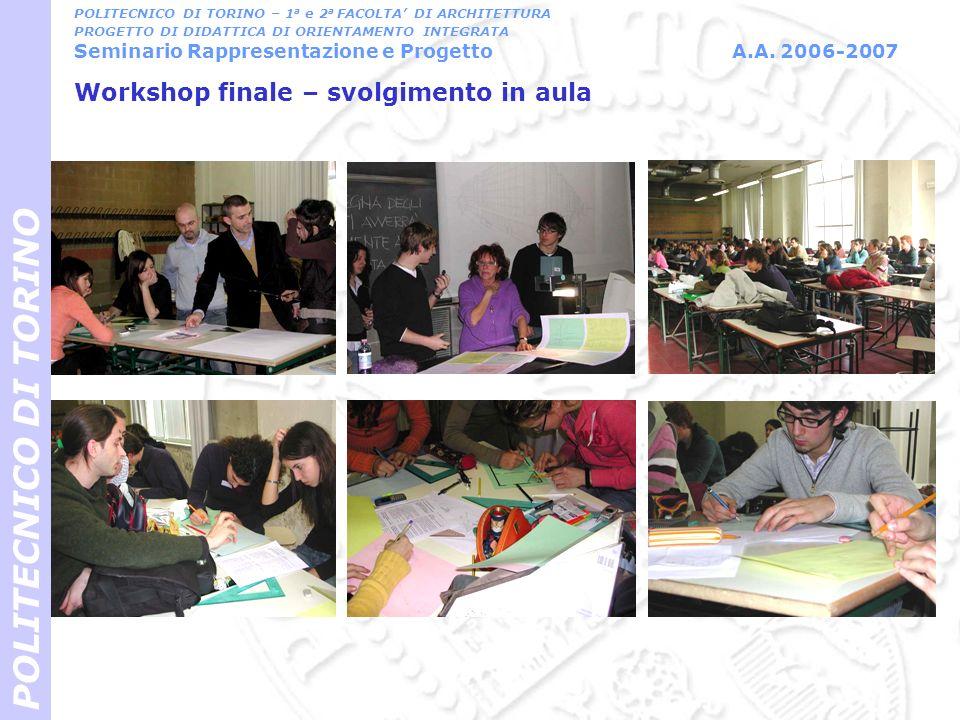 Workshop finale – svolgimento in aula POLITECNICO DI TORINO POLITECNICO DI TORINO – 1 a e 2 a FACOLTA DI ARCHITETTURA PROGETTO DI DIDATTICA DI ORIENTA